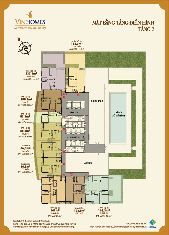Layout of the 7th floor Vinhomes Nguyen Chi Thanh