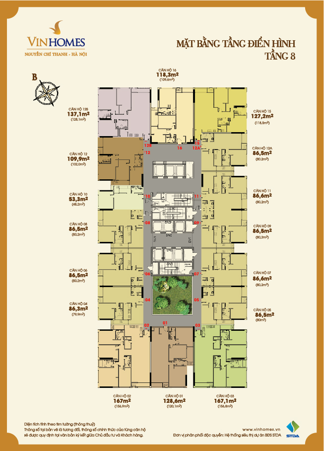 Layout of the 8th floor Vinhomes Nguyen Chi Thanh