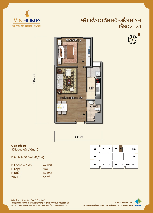 Layout of room 10 Vinhomes Nguyen Chi Thanh