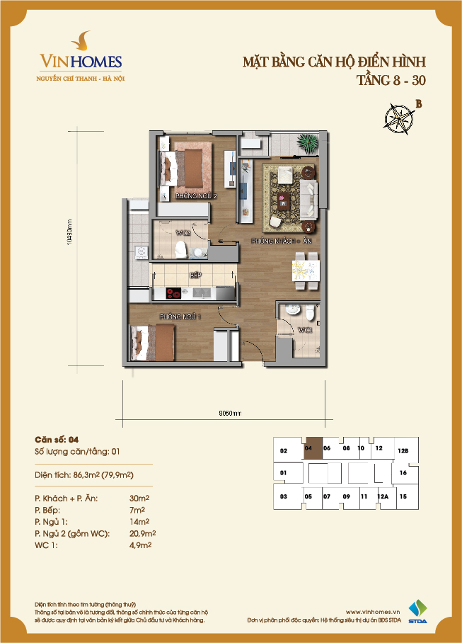 Layout of room 4 Vinhomes Nguyen Chi Thanh