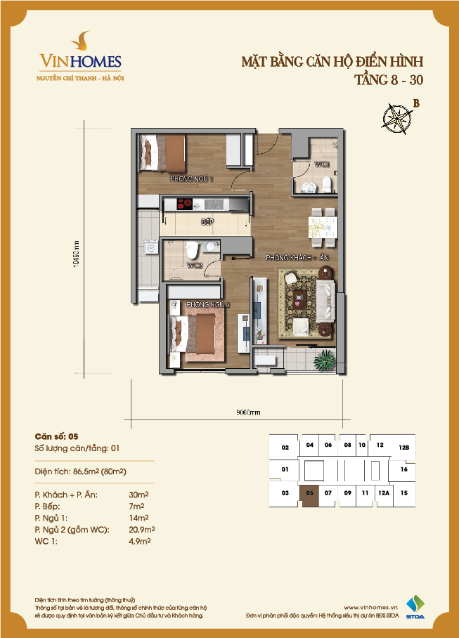Layout of room 5 Vinhomes Nguyen Chi Thanh