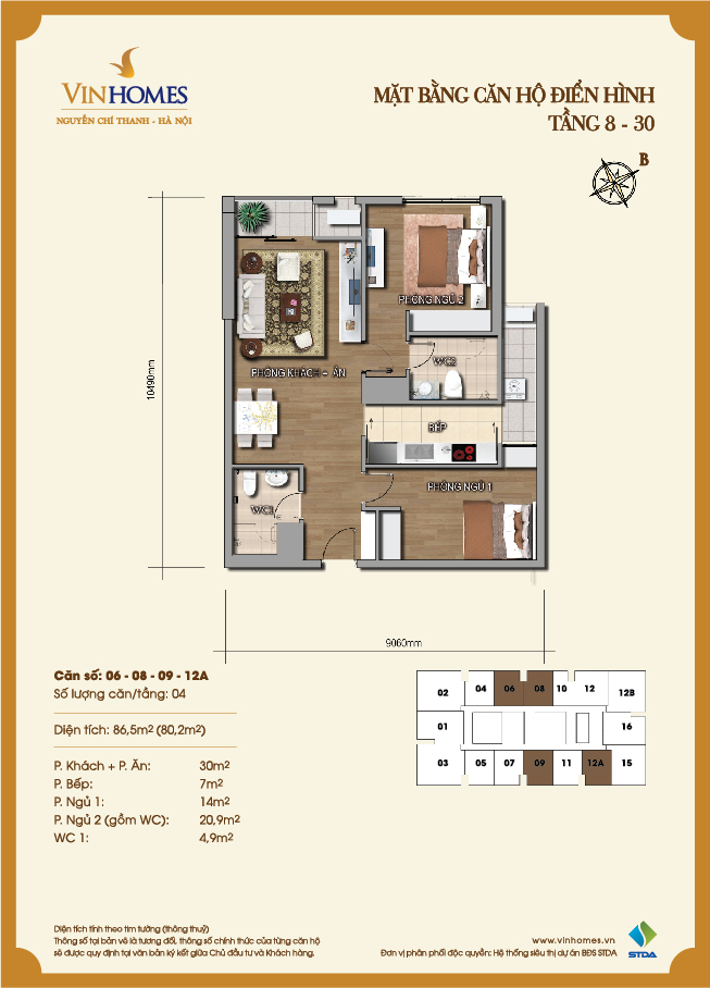 Layout of room 6-8-9-12A Vinhomes Nguyen Chi Thanh