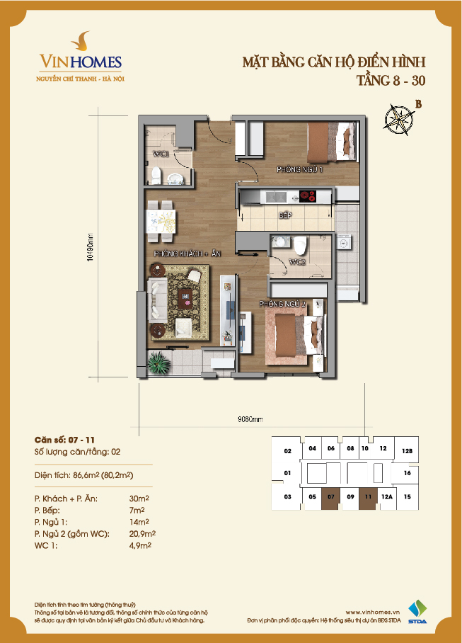 Layout of room 7-11 Vinhomes Nguyen Chi Thanh