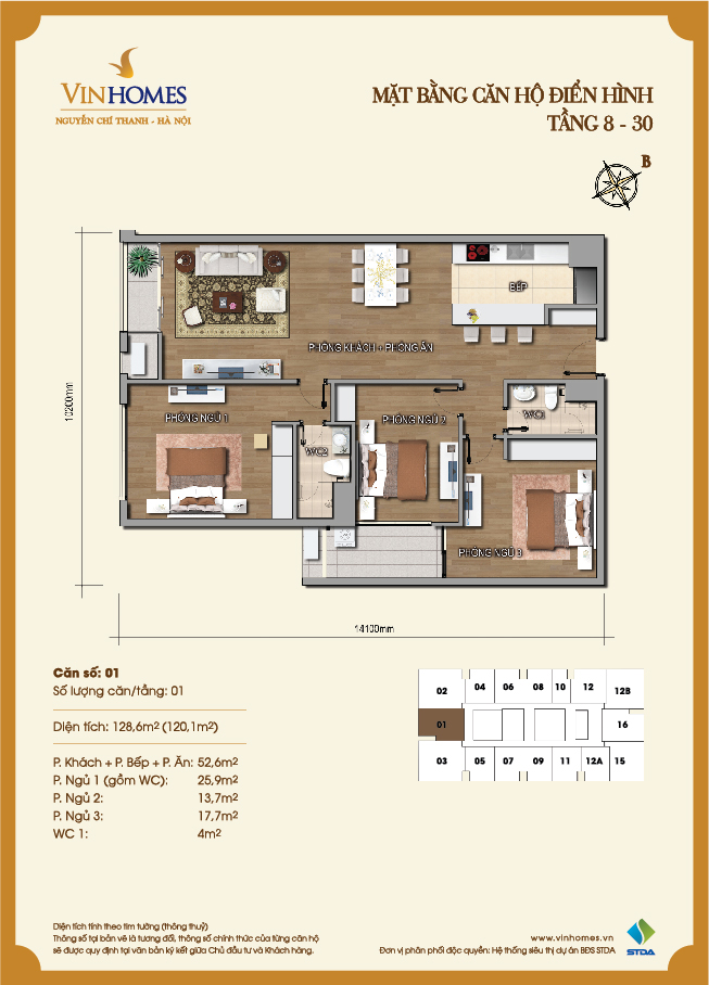 Layout of room 1 Vinhomes Nguyen Chi Thanh