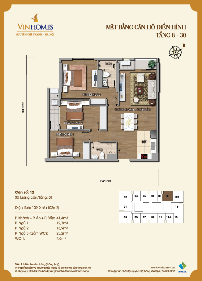 Layout of room 12 Vinhomes Nguyen Chi Thanh