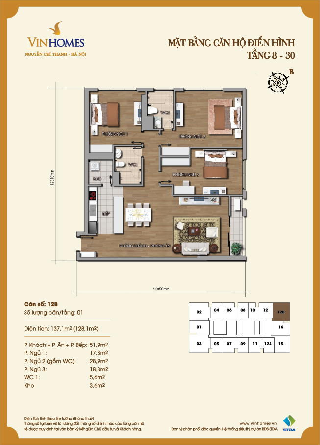 Layout of room 12B Vinhomes Nguyen Chi Thanh