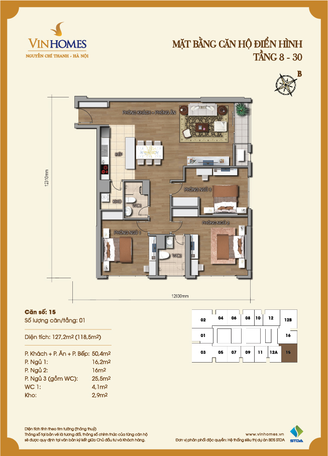 Layout of room 15 Vinhomes Nguyen Chi Thanh