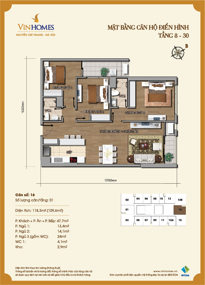 Layout of room 16 Vinhomes Nguyen Chi Thanh